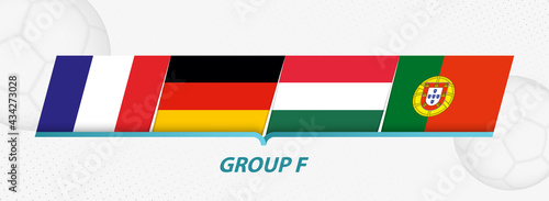 Foto Group F participants of European football competition on abstract soccer background
