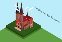 St. Nicholas Church. Isometric Illustration. Colorful Postcard. Red And Gray Church With Two Big Towers, Clouds. Welcome To Ukraine