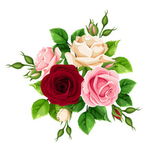 Vector Bouquet Of Burgundy, Pink And White Rose Flowers Isolated On A White Background.