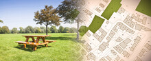 Wooden Picnic Table On A Green Meadow Of A Public Park With Trees Against An Imaginary City Map With Recreation Areas, Green Spaces For Leisure Activities And Municipal Services