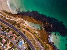 Aerial View Of Glencairn Tidal Pool Along The Coastline In Summertime, Cape Town, South Africa.