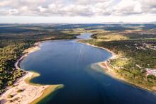 Aerial View Of Lagoa De Albufeira, A Natural Lake Meeting The Atlantic Ocean In South Portuguese Coastline, Sesimbra Municipality, Setubal, Portugal.