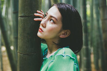 Woman In A Bamboo Forest.