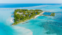 Panoramic Aerial View Of The Local Island Mathiveri With Harbour, Alif Alif Atoll, Maldives.