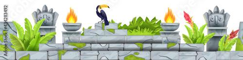 Seamless jungle stone vector frame, tropical rocks ancient ruin border, toucan, totem face, fire, leaf Fotobehang