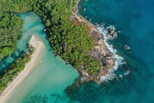 Aerial View Of Wetland And Beach Along The Coastline At Grande Anse, West Mahé, Seychelles.