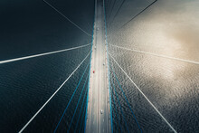 Aerial View Of Vehicles Crossing The Russkiy Most, The Main Bridge In Vladivostok, Russia.