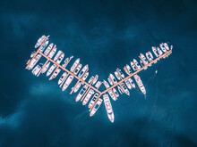 Aerial View Of Luxury Yachts Anchored At The Pier In The Sea, Manila, Philippines.