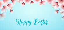 Happy Easter Handwriting Lettering Background With Blooming Spring Cherry Branch_2