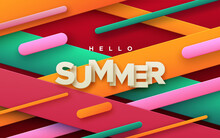 Hello Summer Paper Sign Abstract Background With Multicolored Geometric Shapes_28