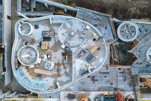 Aerial Top Down View Of Outdoor Building Activity Site In Progress From Above In Kaunas, Lithuania.