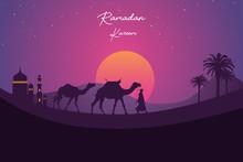 Illustration Man Walking With Camel Desert Sunset Background