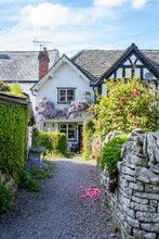 Old English House, Medieval, With Timber Frames And Flowers In The Garden