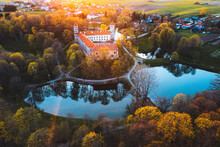 Aerial View Of Panemune Castle Near Neman River In Jurbarkas District, Skirsnemune, Lithuania.