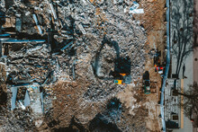 Aerial View Of Old Building Demolition Work Process In Construction Site In Kaunas City, Lithuania.
