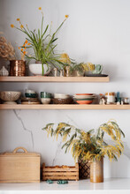Kitchen Shelves With Ceramic Utensils, Fresh Flowers And Ceramic Figures Of Mushrooms And Beetles