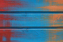 Blue, Orange And Red Paint On A  Wooden Board Texture. Blue Aqua Wood Panels.