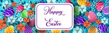 Happy Easter Holiday Celebration Sale Banner Flyer Greeting Card With Decorative Eggs Flowers Horizontal Illustration_2