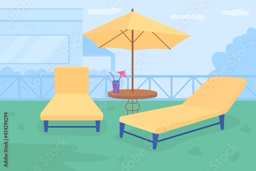 Foto Relaxing retreat in courtyard flat color vector illustration
