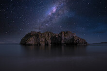 Scenic View Of Rock Formation Against Sky At Night