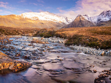 Waterfall Between Sharp Exposed Rocks, The Fairy Pools On Isle Of Skye, Breathtaking Clear Water