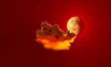 One Red Cloud With Moon . Computer Generated Nature 3D Illustration