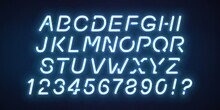 Vector Realistic Isolated Neon Slanted Font For Template Decoration And Invitation Covering On The Blue Background.