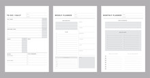 3 Set Of Minimalist Planners. Today, Weekly, Monthly Planner Template. Simple Printable To Do List. Business Organizer Page. Paper Sheet. Realistic Vector Illustration.