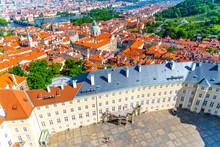 Aerial View Of Third Courtyard Of Prague Castle, Czech: Prazsky Hrad, With Lesset Town Quarter Panorama. Hradcany, Czech Republic