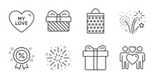 Discount, My Love And Fireworks Line Icons Set. Gift Box, Gift And Shopping Bag Signs. Love Couple, Fireworks Explosion Symbols. Sale Shopping, Sweet Heart, Pyrotechnic Salute. Holidays Set. Vector