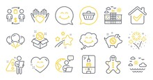 Set Of Holidays Icons, Such As Sale, Buying Process, Shopping Cart Symbols. Piggy Sale, Smile Face, Gingerbread Man Signs. Smile Chat, Hold Heart, Crane Claw Machine. Hotel, Ice Creams. Vector