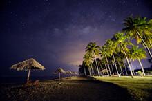 Palm Trees On Beach Against Sky At Night In Kampung Penarik Terengganu