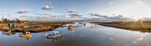30mpx Sunset Panoramic Of The Harbour At Stone Creek, Sunk Island, East Yorkshire