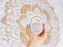 Crystal Ball Mandala White Gold With Hand