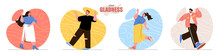 Your Gladness Concept Scenes Set. Smiling Men And Women Jumps And Expression Positive Emotions. Joy Or Happy Feelings. Collection Of People Activities. Vector Illustration Of Characters In Flat Design