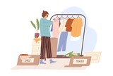Woman decluttering and organizing wardrobe, putting clothes into Sale and Trash boxes. Person taking inventory and sorting out apparels. Colored flat vector illustration isolated on white background - 434313205