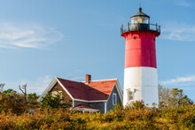 View Of Beautiful Nauset Lighthouse At Sunset In Autumn. Cape Cod, MA, USA.