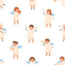 Seamless Pattern With Cute Angels On White Background. Happy Children With Nimbus And Wings On Endless Repeatable Texture For Printing. Colored Flat Vector Illustration Of Repeating Backdrop