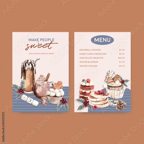 Canvas Menu template with winter sweets concept design for restaurant and bistro waterc