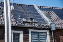 Burned Solar Panels On Roof