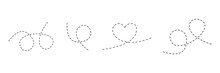 Line Dotted Route Set. Heart Shape. Traffic Elements. Dots Linear Path Collection. Vector Isolated On White.