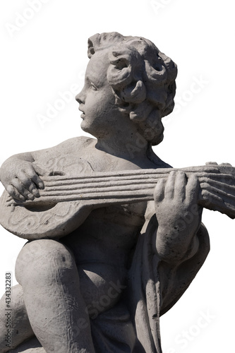 Foto Side view of ancient stone sculpture of naked cherub playing lute on white backg