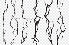 Seamless Cracks In The Wall, Plaster Or Ground. Broken Surface Texture, Cleft, Crackles. Vector Earthquake Cracking Holes, Destruction, Damage Fissure After Disaster Isolated On Transparent Background