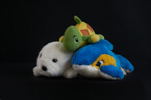 Soft Childrens Toys: Turtle, Seal, Dolphin Isolated On Black Background