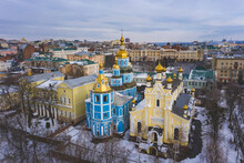 Aerial View Of Assumption Cathedral, Pokrovsky Monastery  In Winter, Kharkov, Ukraine