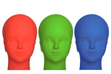 Three Mannequin Heads In Red, Green And Blue Colours, Isolated On White Background.