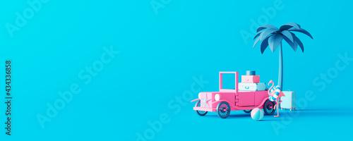 Obraz na plátne Pink toy car with luggage on pastel blue background
