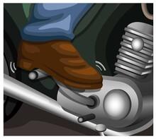Kickstarter On Vintage Motorcycle Instruction Symbol Illustration Cartoon Vector