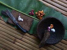 High Angle View Of Food On Table - Making Spices In A Traditional Way