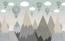 Hot Air Balloons Mountains